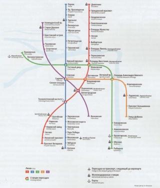 Схема линий Петербургского